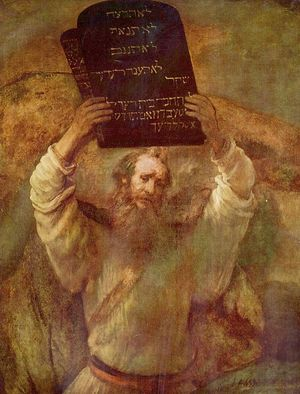 Mose with the Ten Commandments by Rembrandt Harmensz van Rijn